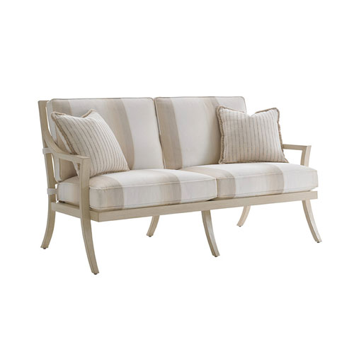 Misty Garden Ivory and Beige Love Seat
