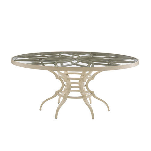 Misty Garden Ivory Dining Table with Glass Top