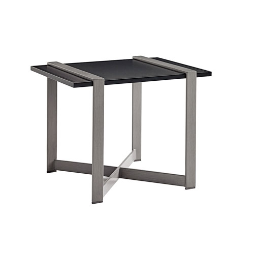 Del Mar Gray and Black Rectangular End Table