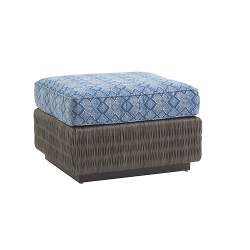 Cypress Point Ocean Terrace Brown and Blue Ottoman