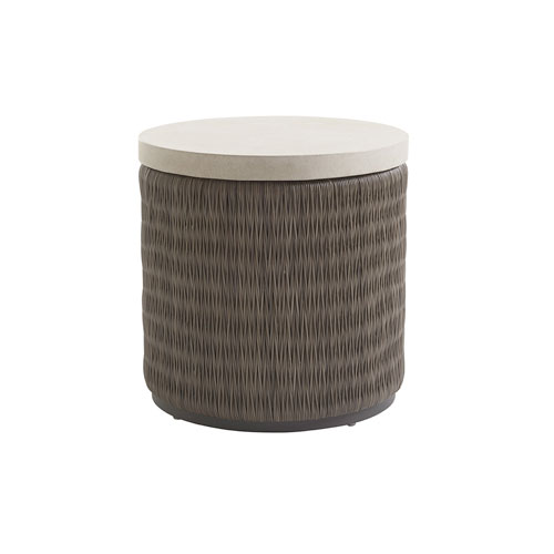 Cypress Point Ocean Terrace Brown and Ivory Round End Table