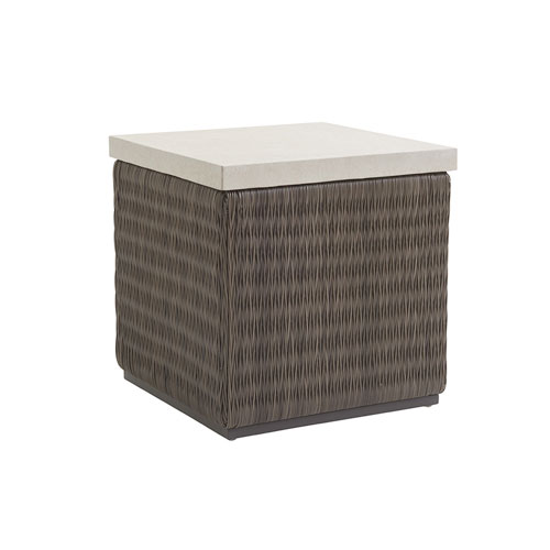 Cypress Point Ocean Terrace Brown and Ivory Square End Table