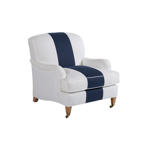 Upholstery White and Blue Sydney Chair With Brass Caster