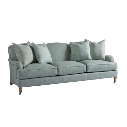 Upholstery Green Sydney Sofa With Brass Casters