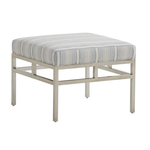 Upholstery Linen White Lucca Metal Ottoman