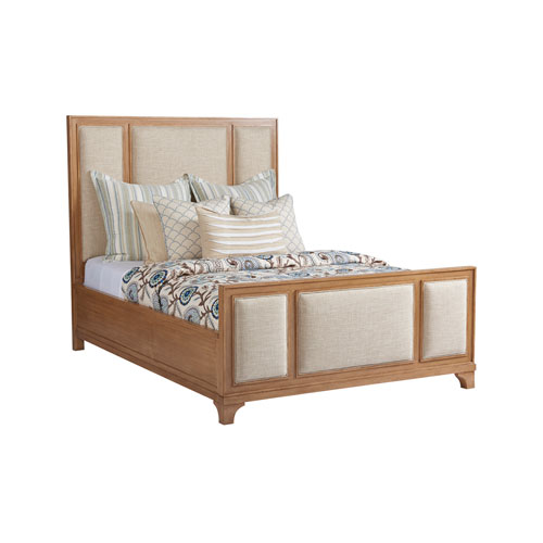 Newport Sandstone and Beige Crystal Cove Upholstered Queen Panel Bed