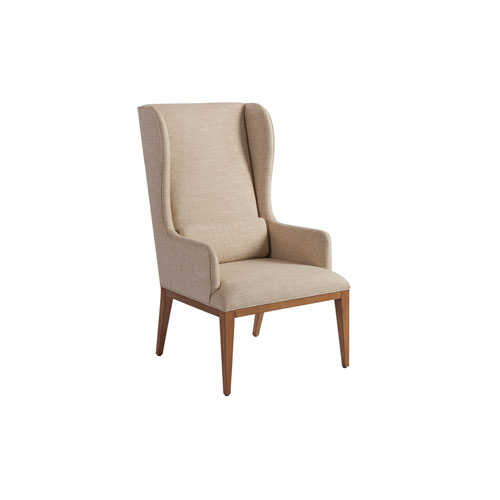Newport Beige and Brown Seacliff Upholstered Host Wing Chair