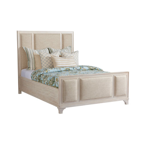 Newport Beige Crystal Cove Upholstered King Panel Bed