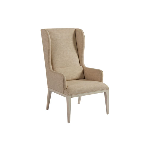 Newport Beige and White Seacliff Upholstered Host Wing Chair