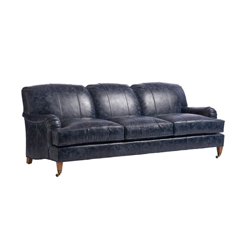 Upholstery Blue Sydney Leather Sofa With Brass Caster