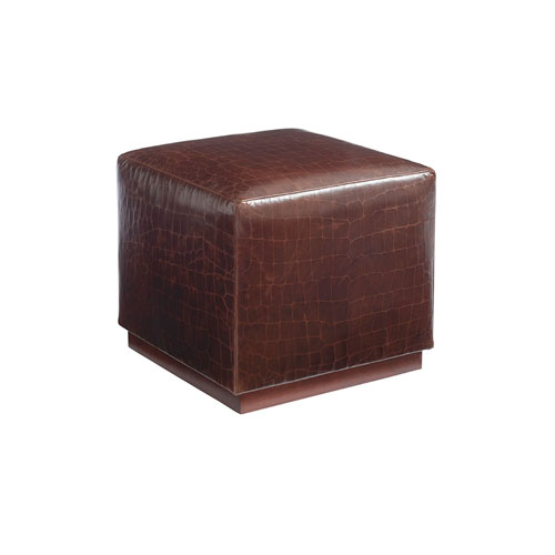 Upholstery Red Colby Leather Ottoman
