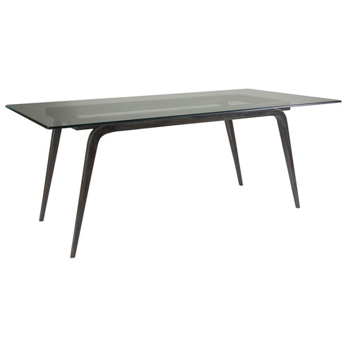 Metal Designs St. Laurent Mitchum Rectangular Dining Table With Glass Top