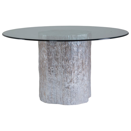 Signature Designs  Silver Leaf Trunk Segment Round Dining Table With Glass Top