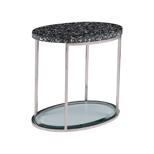Signature Designs Black and Stainless Steel Mariana Oval Spot Table