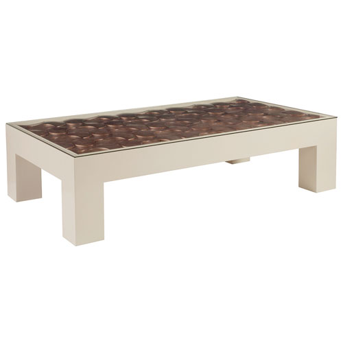 Signature Designs Ivory Lacquer and Warm Silver Credo Rectangular Cocktail Table