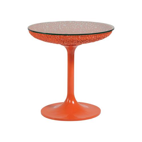 Signature Designs Orange Seascape Round Orange Spot Table