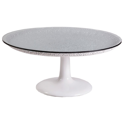 Signature Designs White Seascape Round Cocktail Table