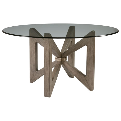 Cohesion Program Grigio Butterfly Round Dining Table With Glass Top