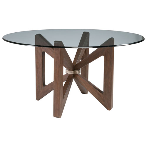 Cohesion Program Marrone Butterfly Round Dining Table With Glass Top