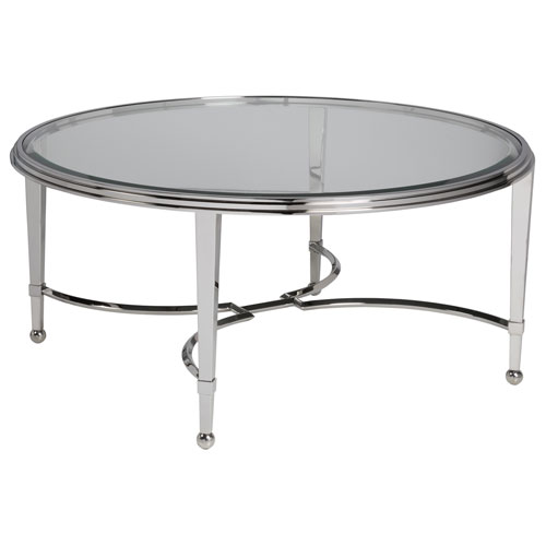 Signature Designs Stainless Steel Sangiovese Round Cocktail Table with Glass Top