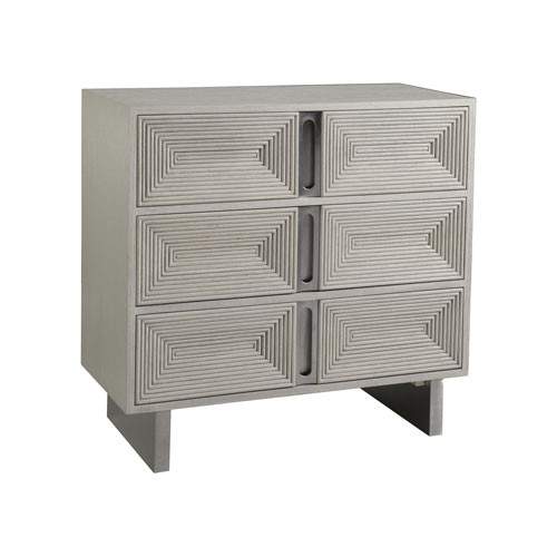 Signature Designs White and Stainless Steel Gradient Hall Chest