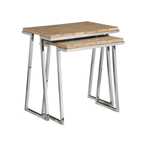 Signature Designs Brown and Stainless Steel Thatch Nesting Tables