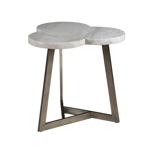 Signature Designs White and Antique Silver Leaf Aristo Clover End Table