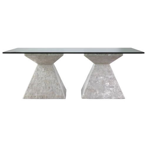 Signature Designs Gypsum and Clear Rainer Rectangle Dining Table