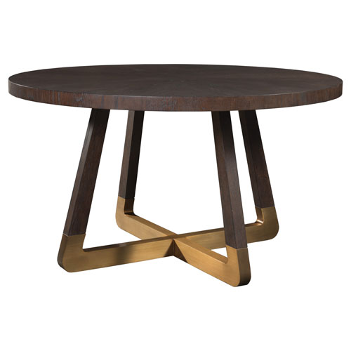 Signature Designs Rich Brown and Brass Verbatim Round Dining Table