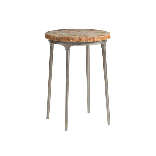 Signature Designs Antique Silver and Brown Clarence Round Spot Table