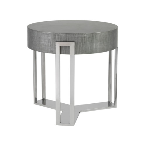 Signature Designs Gray and Silver Iridium Round End Table