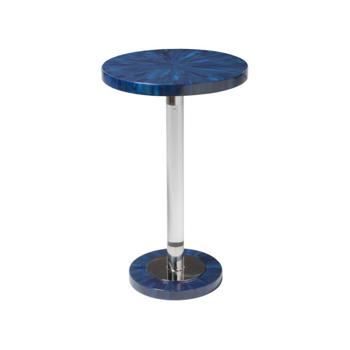 Signature Designs Navy and Polished Nickel Invicta Round Spot Table