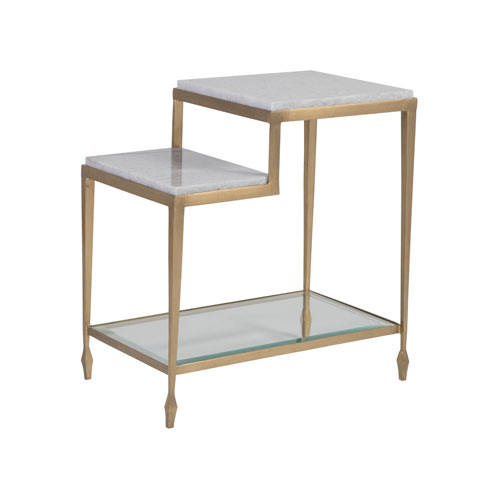 Signature Designs Antique Gold and Off White Sashay Rectangle End Table