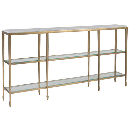 Signature Designs Antique Gold and Off White Sashay Console Table