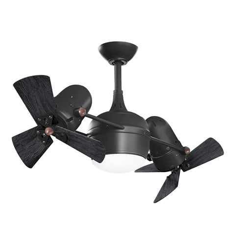 Dagny Matte Black LED Rotational Ceiling Fan with Matte Black Wood Blades