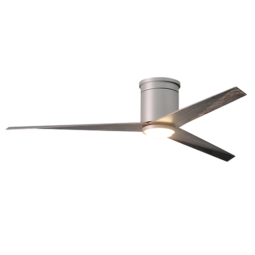 Eliza Brushed Nickel 56-Inch Flush Mount Ceiling Fan with Frosted Glass LED Light Kit