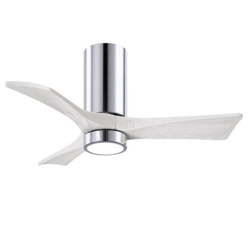 Irene-3HLK Polished Chrome and Matte White 42-Inch Ceiling Fan with LED Light Kit