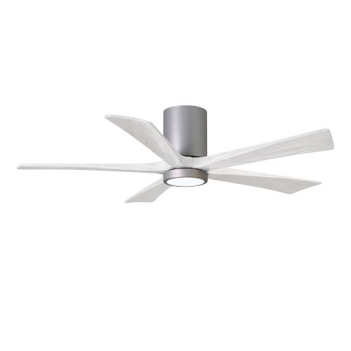 Irene-5HLK Brushed Nickel and Matte White 52-Inch Ceiling Fan with LED Light Kit