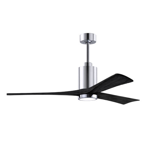 Patricia-3 Polished Chrome and Matte Black 60-Inch Ceiling Fan with LED Light Kit