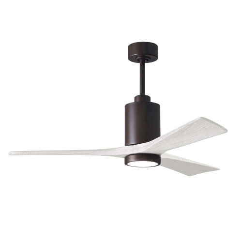Patricia-3 Textured Bronze and Matte White 52-Inch Ceiling Fan with LED Light Kit