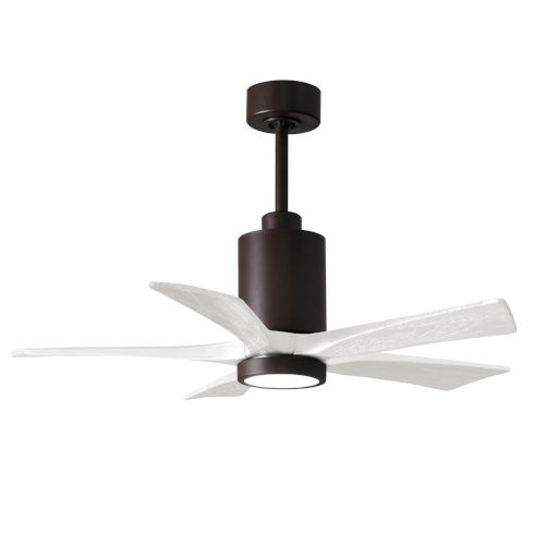 Patricia-5 Textured Bronze and Matte White 42-Inch Ceiling Fan with LED Light Kit