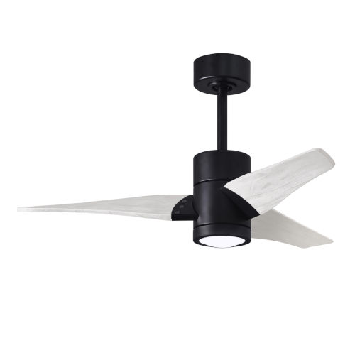Super Janet Matte Black and Matte White 42-Inch Ceiling Fan with LED Light Kit