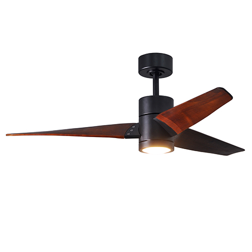Matthews Fan Super Janet Matte Black 52-Inch LED Ceiling Fan with Walnut Tone Blades