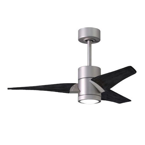 Super Janet Brushed Nickel and Matte Black 42-Inch Ceiling Fan with LED Light Kit