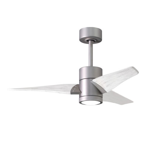 Super Janet Brushed Nickel and Matte White 42-Inch Ceiling Fan with LED Light Kit
