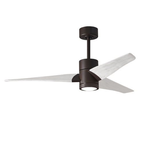 Super Janet Textured Bronze and Matte White 52-Inch Ceiling Fan with LED Light Kit