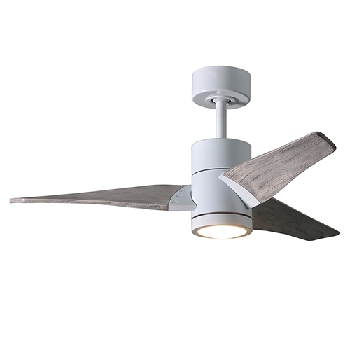 Super Janet Gloss White 42-Inch LED Ceiling Fan with Barnwood Tone Blades
