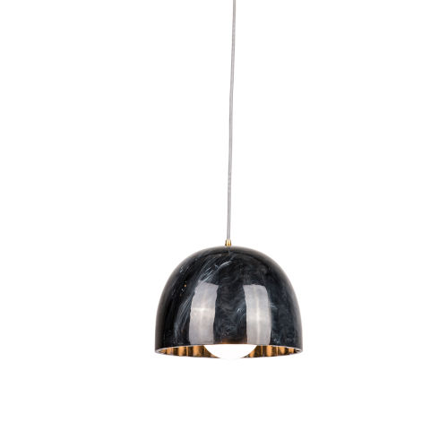 Doric Polished Black Marble 8-Inch One-Light Mini-Pendant with 100W