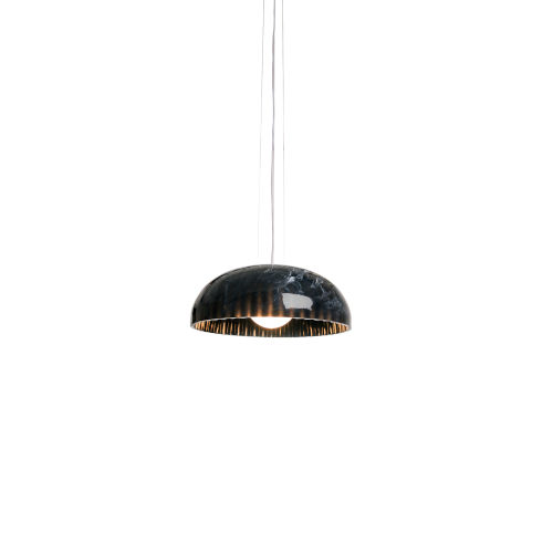 Doric Polished Black Marble 24-Inch One-Light Pendant with 100W