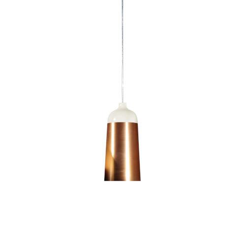 Glaze White and Copper 6-Inch One-Light Mini-Pendant 8W